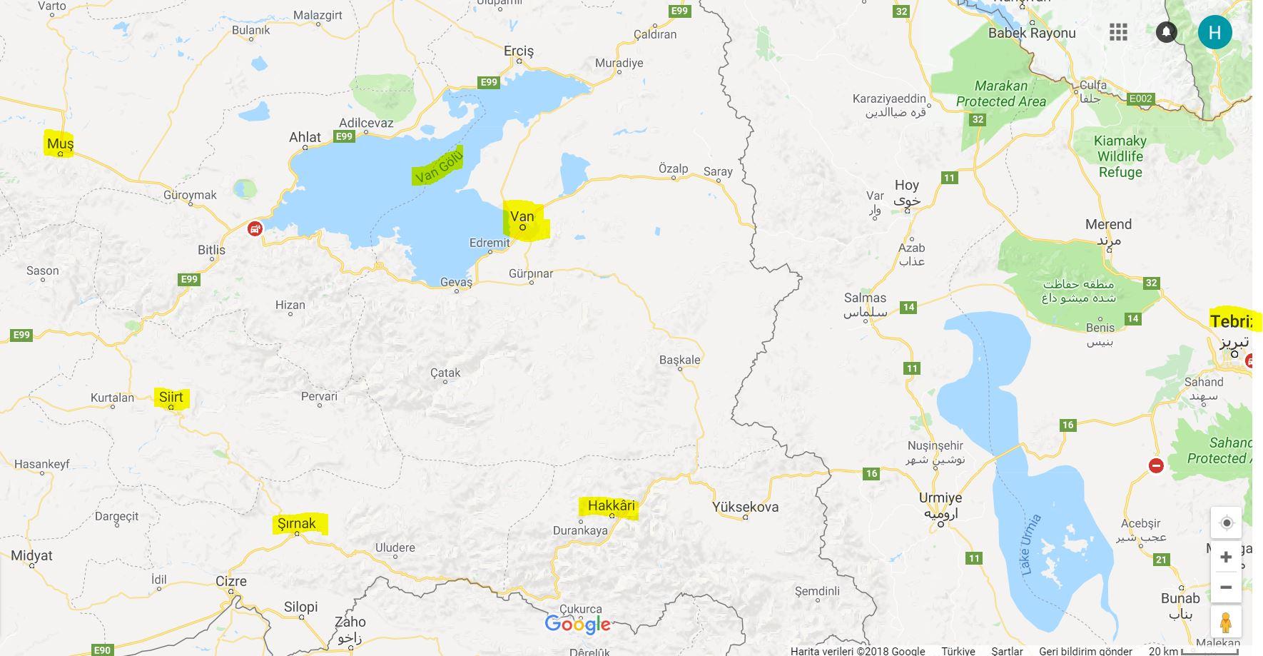 Van'ın Haritadaki Yeri ve Komşu İlleri