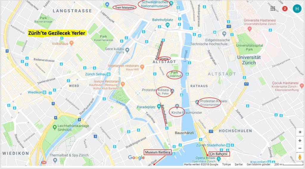 Zürih 'te Gezilecek Yerler Haritası