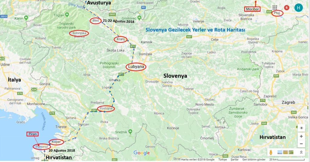 Slovenya Gezilecek Yerler Haritası ve Slovenya Gezi Rotası