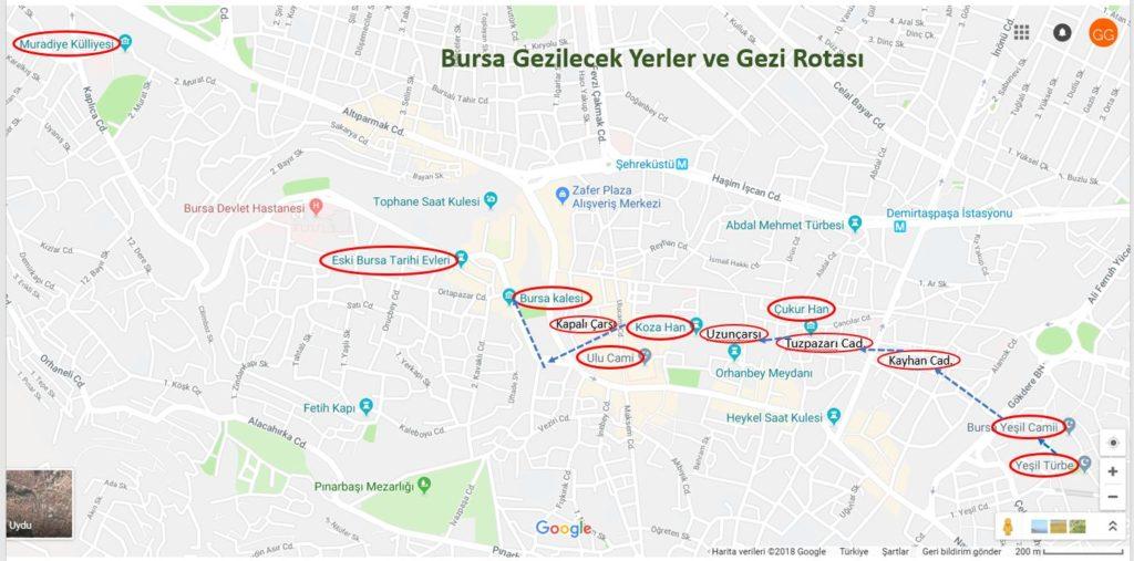 Bursa Şehri Merkezi Gezilecek Yerler Haritası ve Gezi Rotası