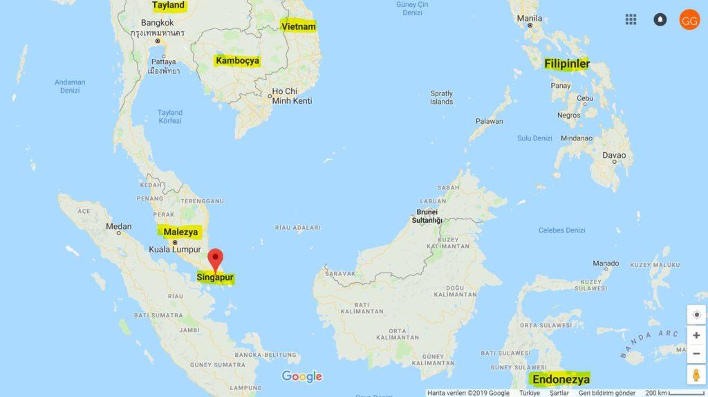 Singapur'un Haritadaki Yeri