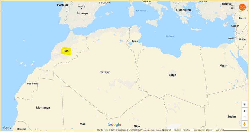 Fas'ın Haritadaki Yeri ve Komşuları