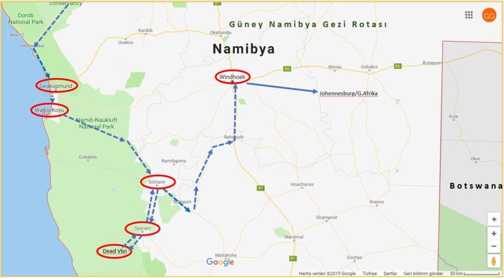 Güney Namibya Gezi Rotası