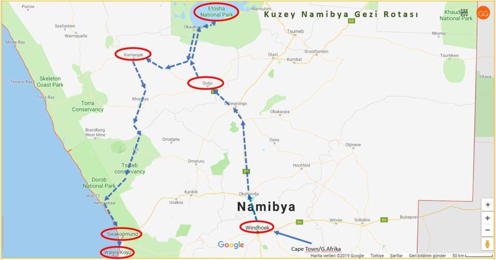 Kuzey Namibya Gezi Rotası