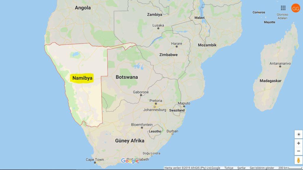 Namibya Nerede; Namibya ve Komşuları