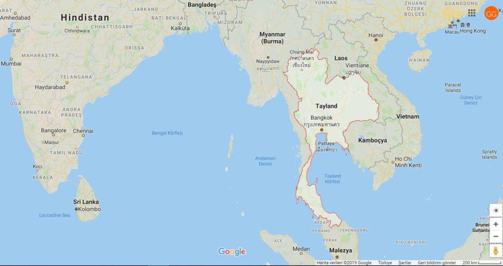 Tayland Nerede; Tayland ve Komşu Ülkeleri