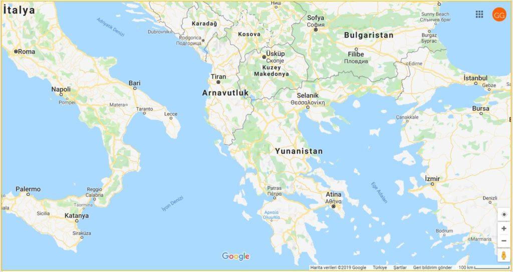 Yunanistan'ın Haritadaki Yeri ve Komşuları