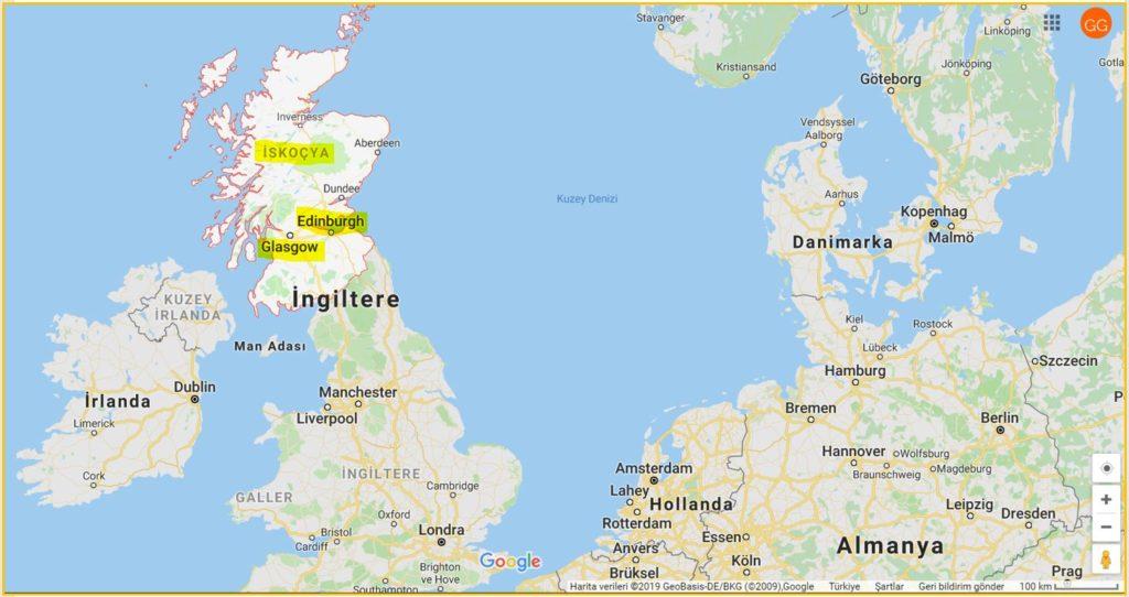 Edinburg ve İskoçya'nın Haritadaki Yeri