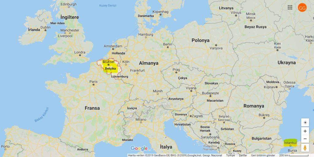 Belçika'nın Haritadaki Yeri