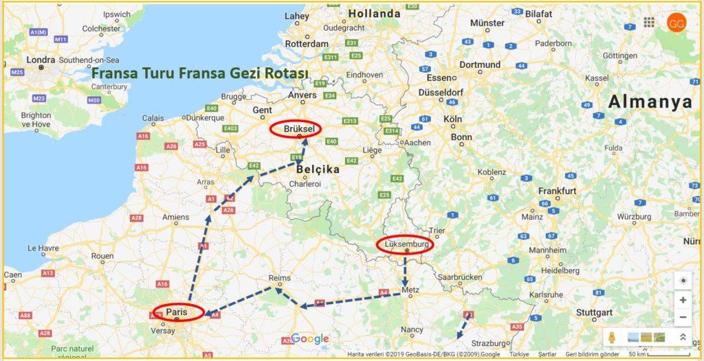 Fransa Turu Fransa Gezi Rotası