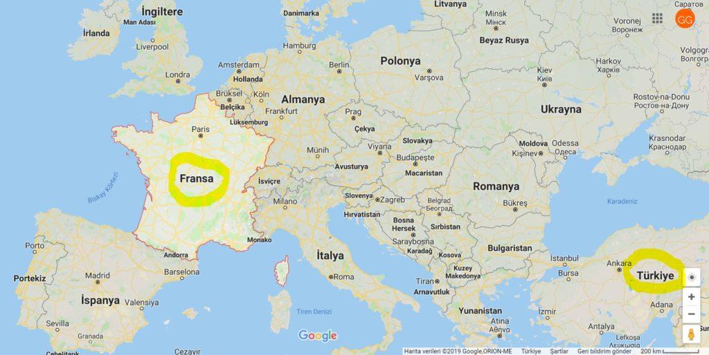 Fransa'nın Haritadaki Yeri