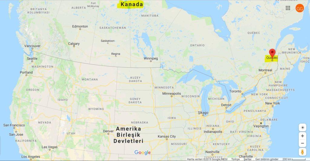 Quebec City'nin Dünya Haritası'ndaki Yeri