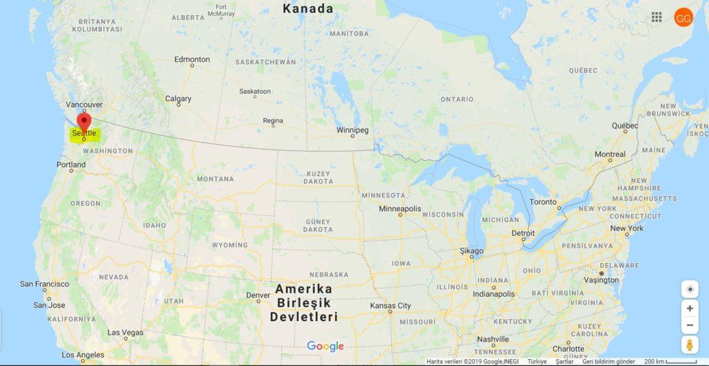 Seattle'ın Harita Üzerindeki Yeri