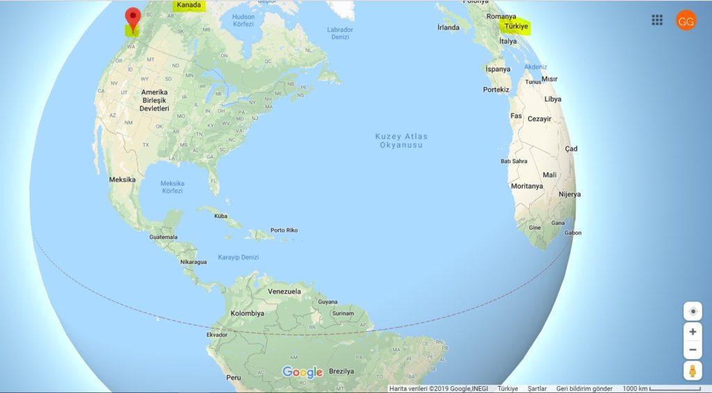 Vancouver'ın Dünya Haritasındaki Yeri